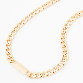 Gold ID Tag Chain Necklace,