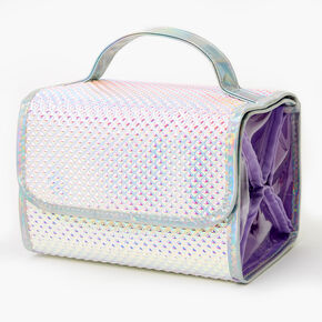 Holographic Roll Makeup Bag - Purple,