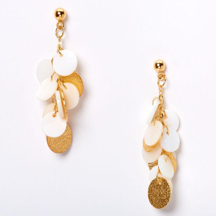 """Gold 1.5"""" Seashell Disc Chandelier Drop Earrings - White,"""