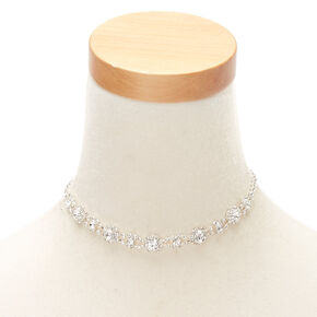 Silver Rhinestone Glam Choker Necklace,