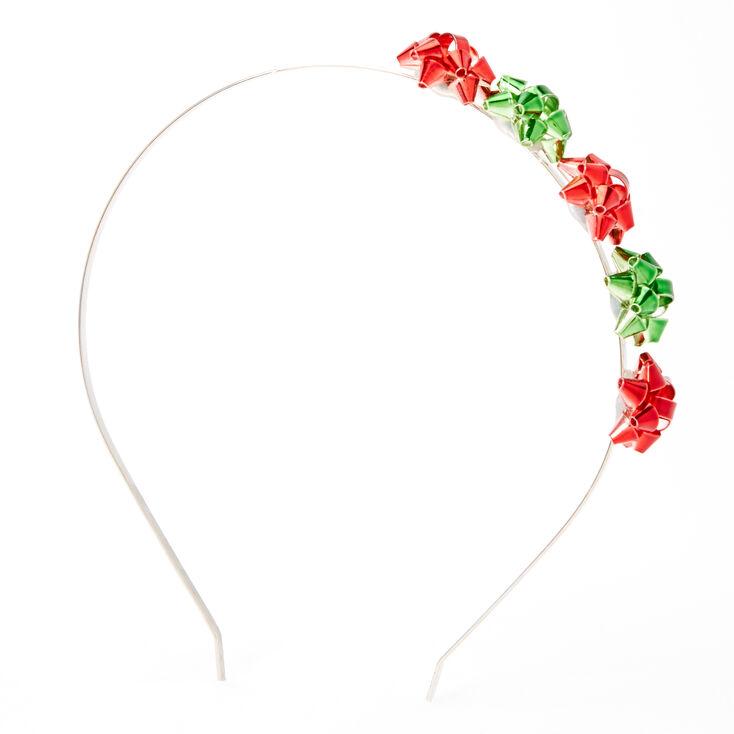 Red & Green Holiday Bow Headband,