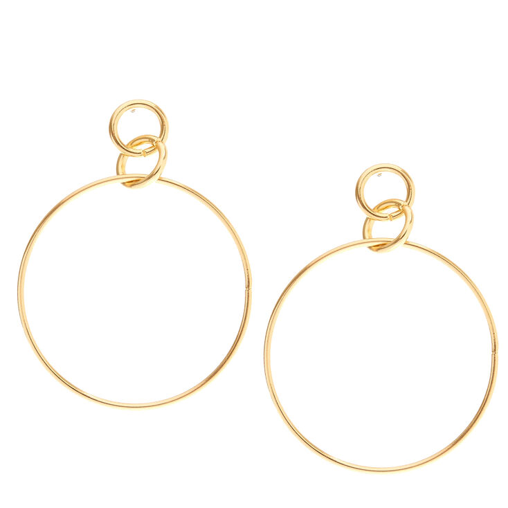 Gold Interlocking Hoop Earrings,