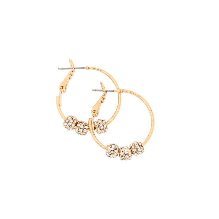 Gold Tone Fireball Beas Hoop Earrings,