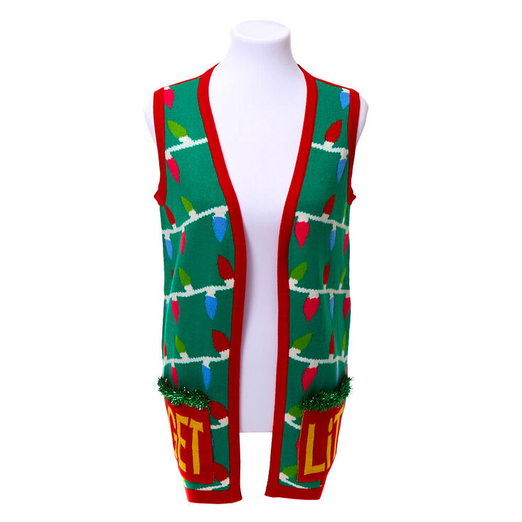 Light Up Get Lit Christmas Sweater Vest,