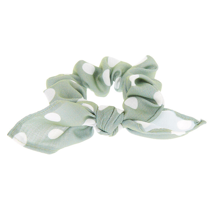 Small Polka Dot Knotted Bow Hair Scrunchie - Sage,