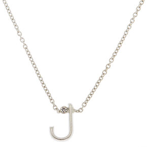 Silver Initial Necklace - J,