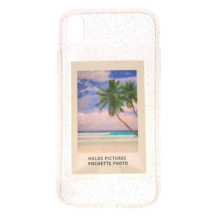 Clear Glitter Instax Mini Pocket Phone Case - Fits iPhone XR,