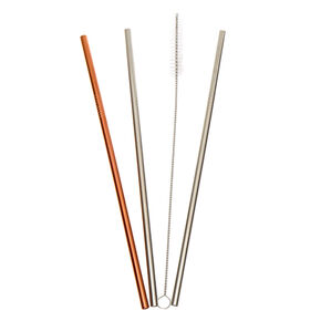 Mixed Metal Stainless Steel Straws - 3 Pack,