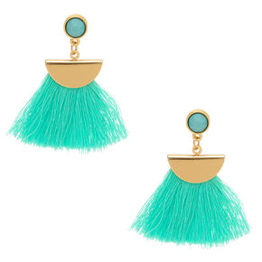 Mint Tassel Drop Earrings,