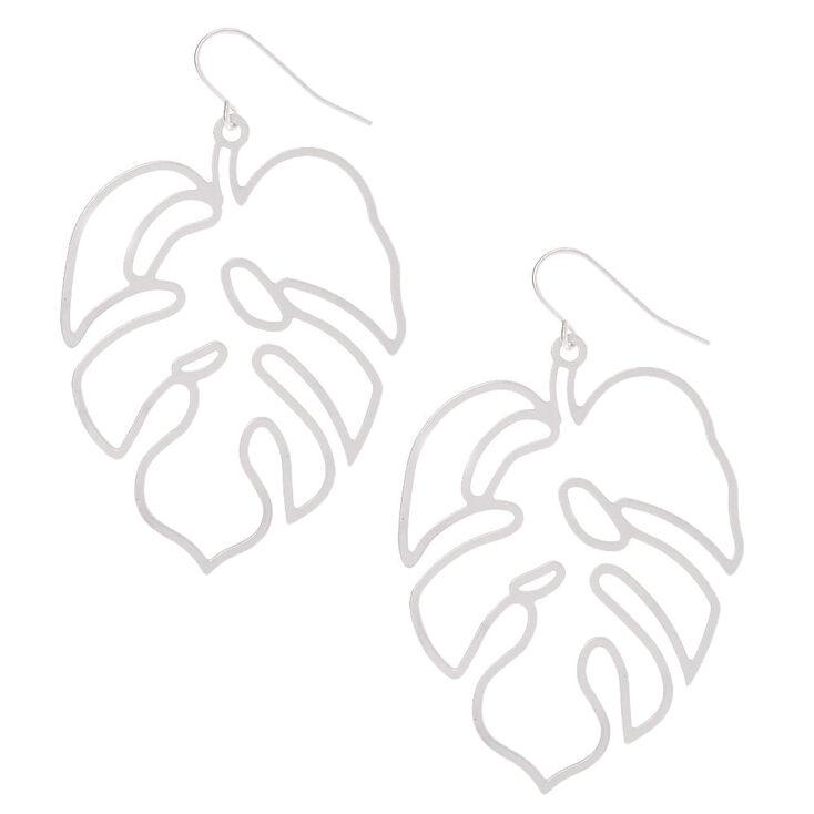 """Silver 2"""" Palm Leaf Drop Earrings,"""