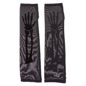 Skeleton Long Fingerless Gloves - Black, 2 Pack,