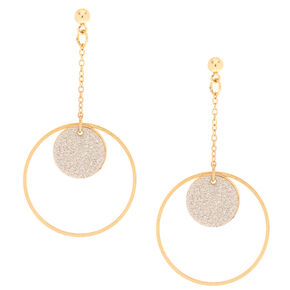Gold-Tone & Glitter Circle Drop Earrings,