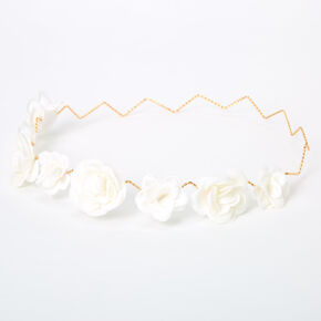 Glitter Roses Flower Crown Headwrap - White,
