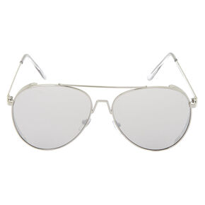 Metal Frame Aviator Sunglasses - Silver,
