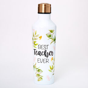Best Teacher Ever Floral Water Bottle - White,