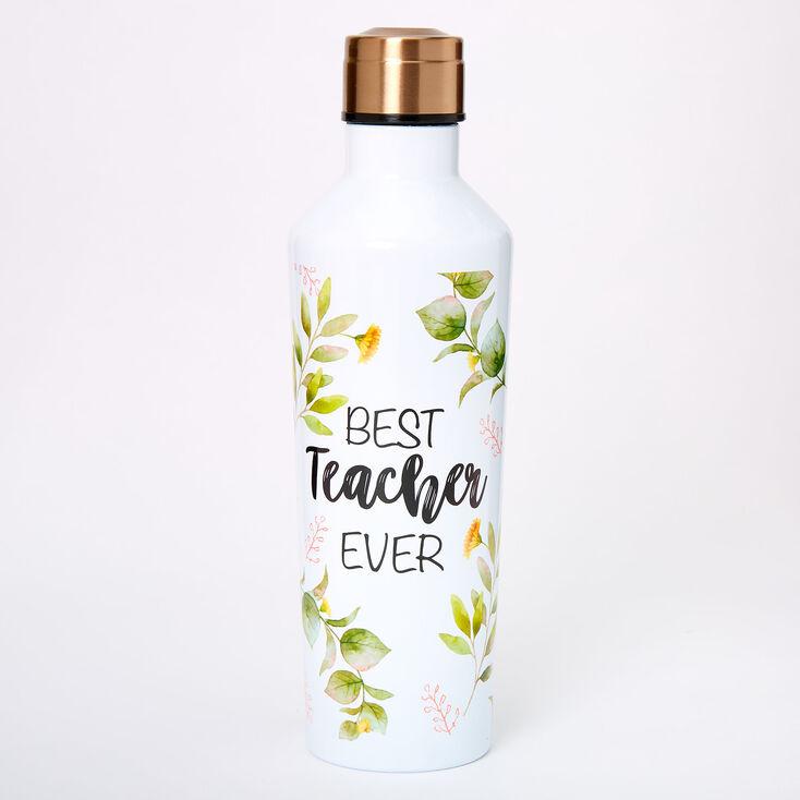 Best Teacher Ever Floral Water Bottle - White,