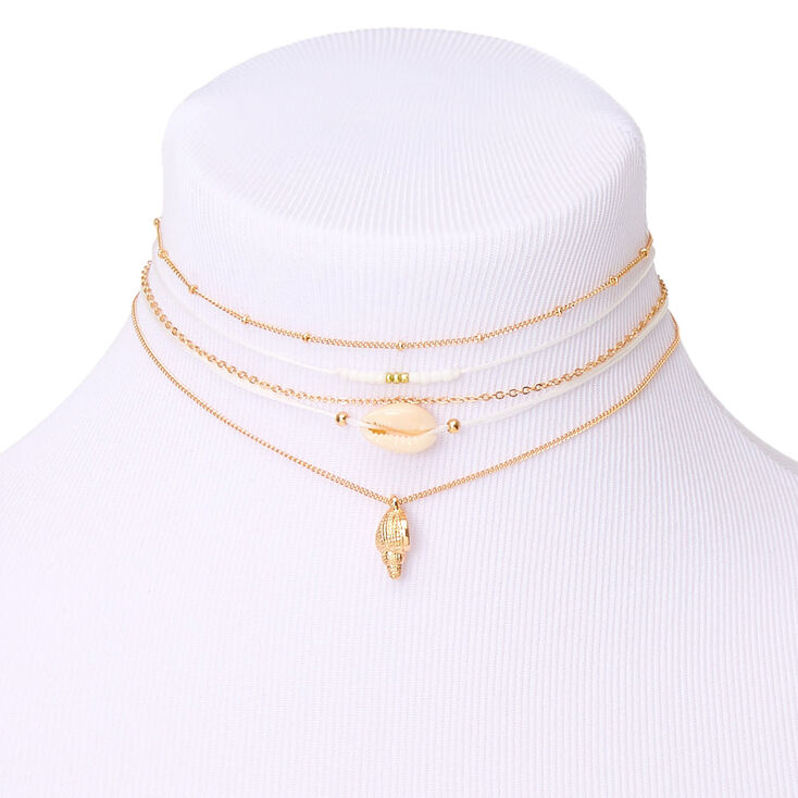 Gold Shell Choker Necklaces - White, 5 Pack,