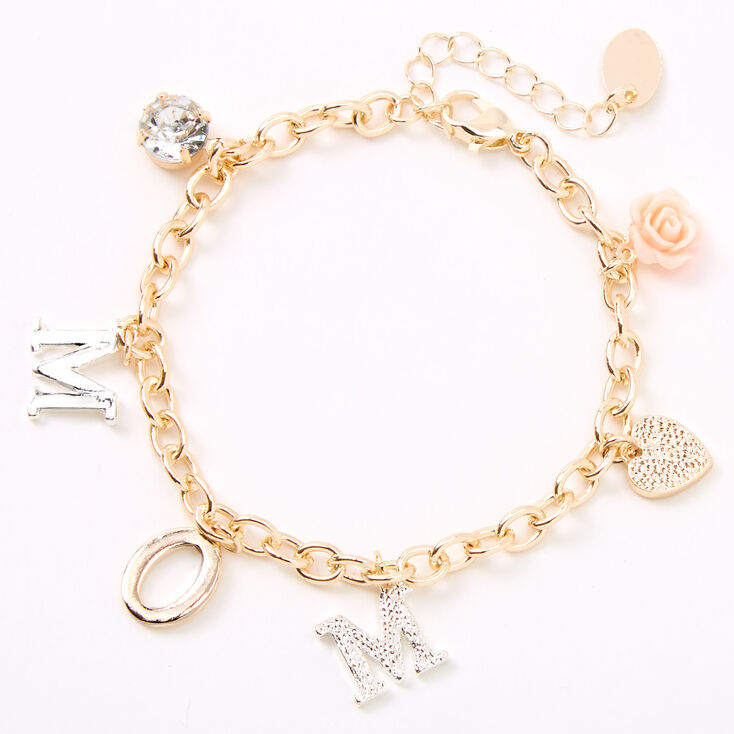 Gold Mom Charm Bracelet,