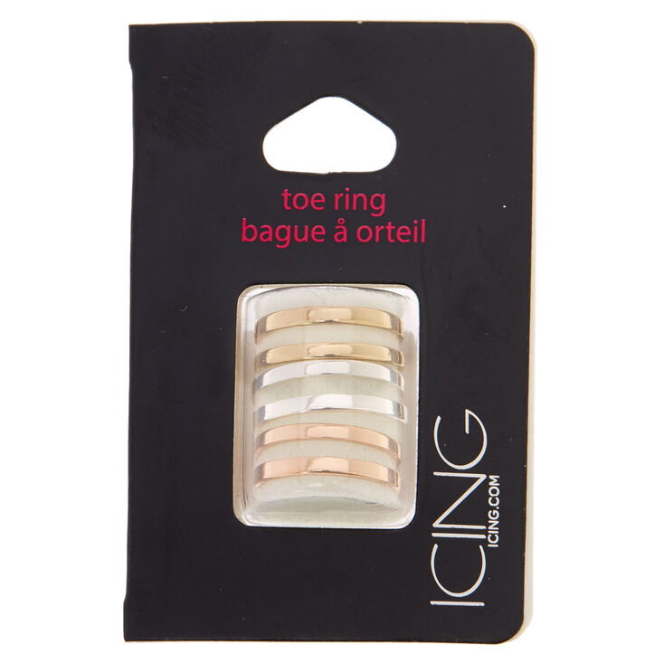 Mixed Metal Double Band Toe Ring Set,