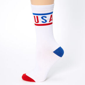 USA Retro Crew Socks - White,