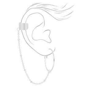 Silver Connector Hoop Earrings,