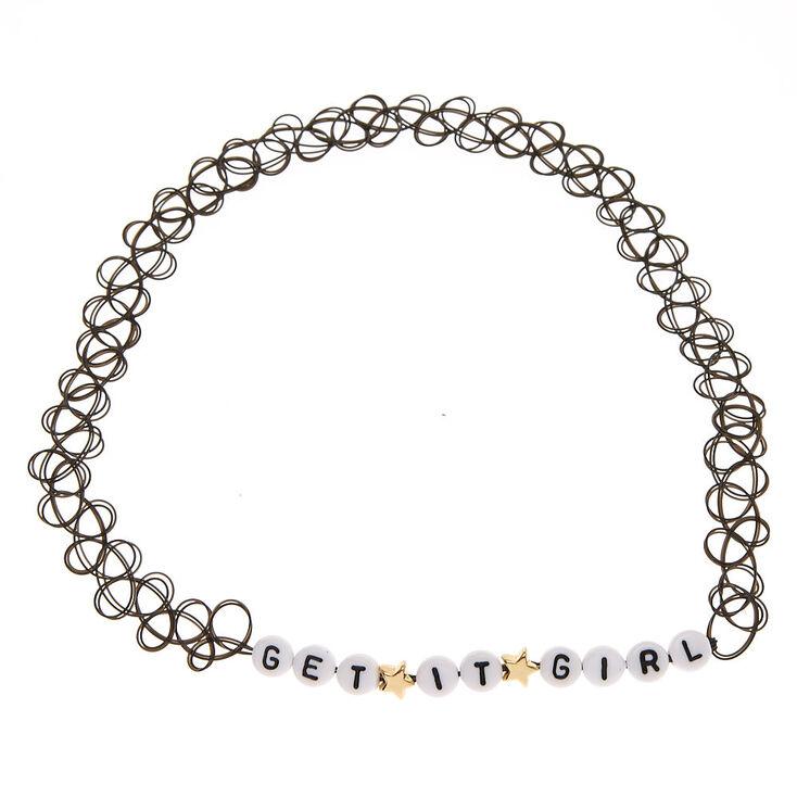 GET IT GIRL Black Tattoo Choker Necklace,