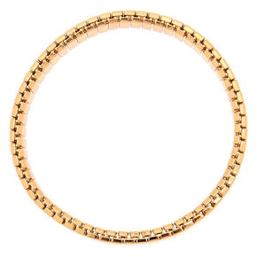 Gold Rectangle Link Stretch Bracelet,