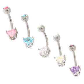 Silver 14G Pastel Heart Crystal Belly Rings  - 5 pack,