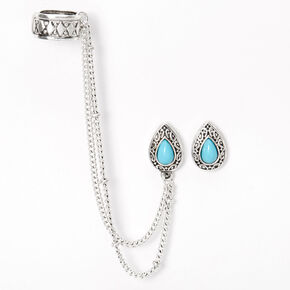 Silver Antique Teardrop Ear Connector Earrings - Turquoise,