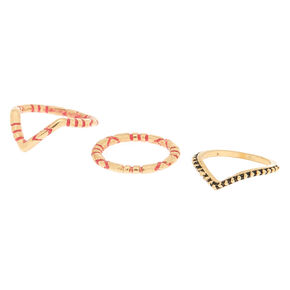 Gold Textured Midi Rings - 3 Pack,