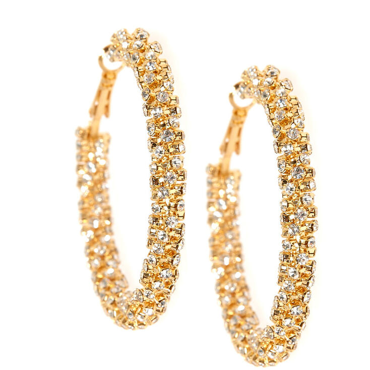 53MM Twisted Crystal Gold Hoop Earrings,