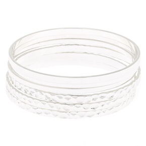 Hammered Silver Bangle Bracelets - 6 Pack,