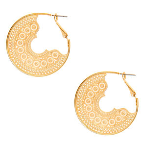 Gold 40MM Filigree Hoop Earrings,