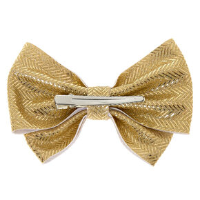 Chevron Glitter Hair Bow Clip - Gold,