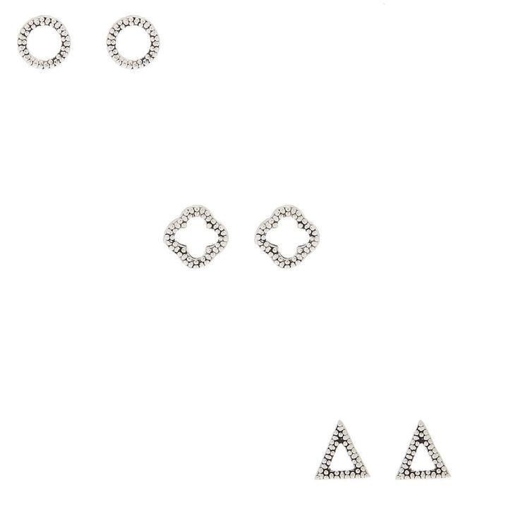 Sterling Silver Textured Geometric Stud Earrings - 3 Pack,