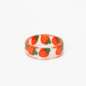 Clear Strawberry Print Ring - Red,