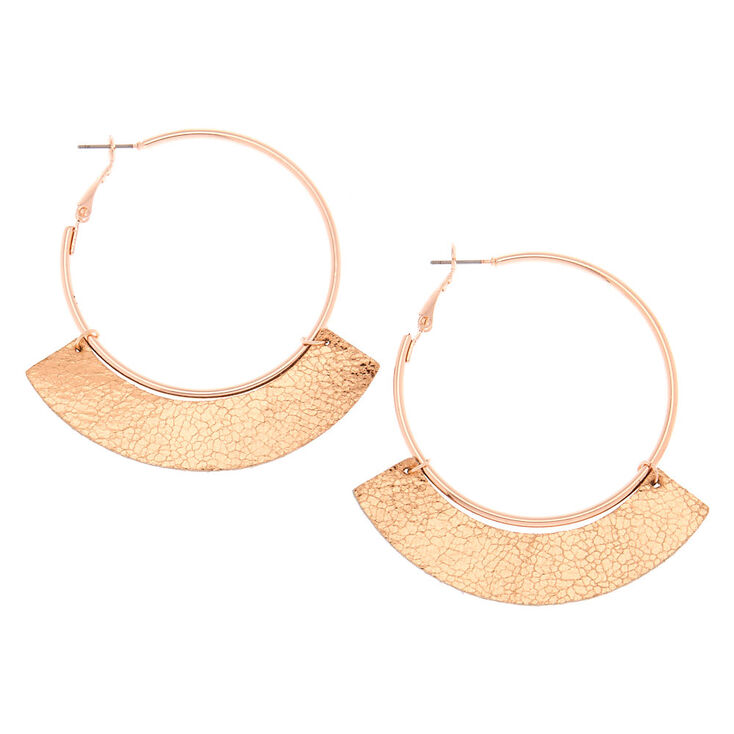 Rose Gold 50MM Metallic Hoop Earrings,