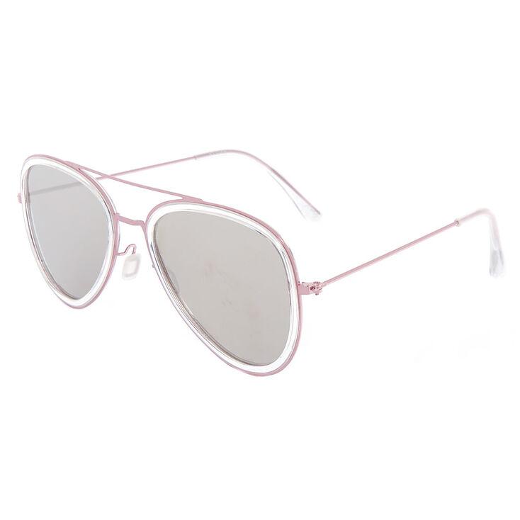 Metallic Frame Aviator Sunglasses - Pink,