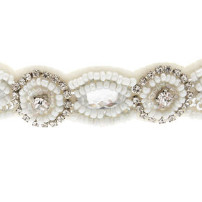 Beaded White Skinny Headband,