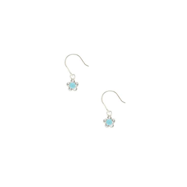 Sterling Silver Turquoise Daisy Drop Earrings,