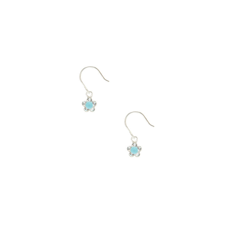 Sterling Silver Turquoise Daisy Drop Earrings,