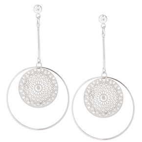 Silver Filigree Circle Drop Earrings,