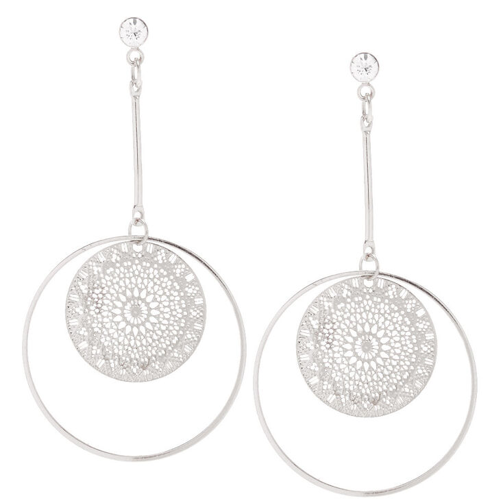 Silver Filigree Circle Drop Earrings,