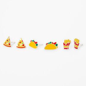 Sterling Silver Fast Food Stud Earrings - 3 Pack,