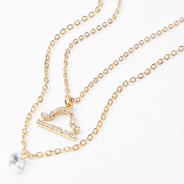 Gold Cubic Zirconia Zodiac Multi Strand Necklace - Libra,