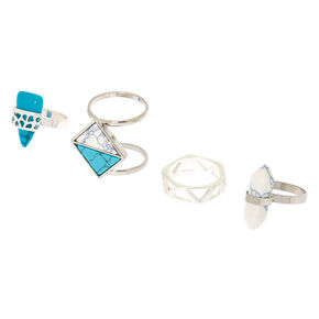 Silver Marble Rings - Turquoise, 4 Pack,