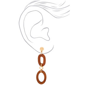 "Gold 3"" Wooden Link Drop Earrings,"