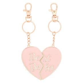 Best Friends Best Babes Heart Keychains - 2 Pack,