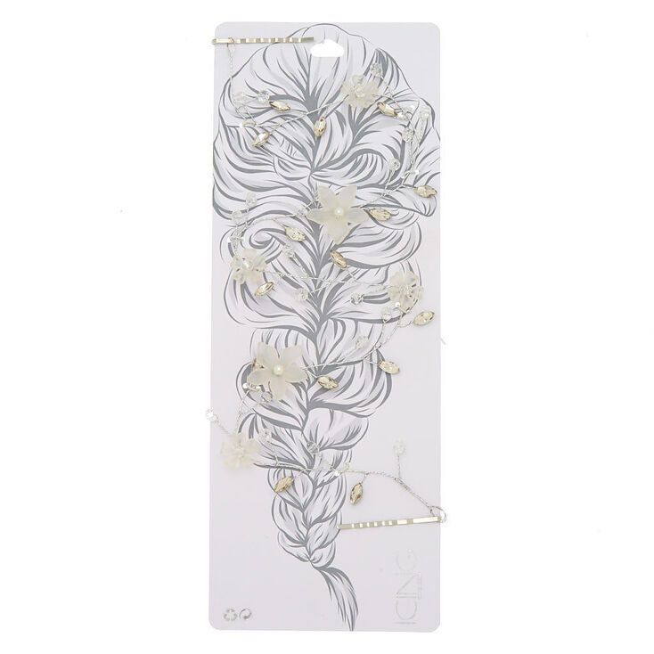 Silver Frosted Flower Statement Hair Vine,