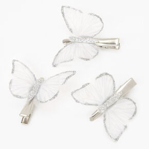 Silver Glitter Butterfly Hair Clips - Clear, 3 Pack,